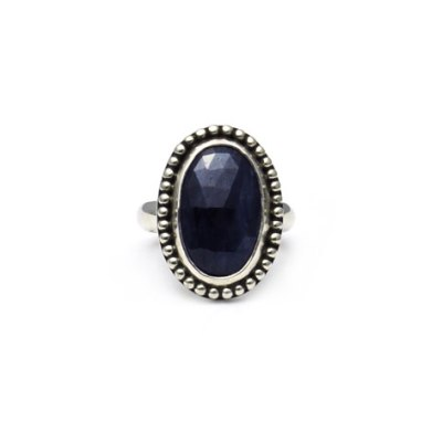 Granulated Oval Sapphire Ring with Patina