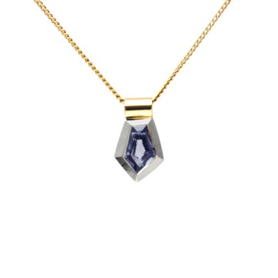 Two tone gold spinel pendant