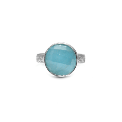 Checkerboard Aquamarine Ring with decorative band
