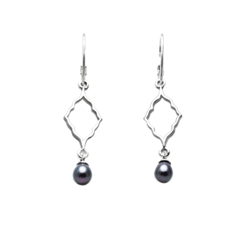 Moroccan Silhouette Earrings with pearl dangles
