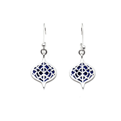 Sterling Silver Saxon Earrings with Lapis inlay