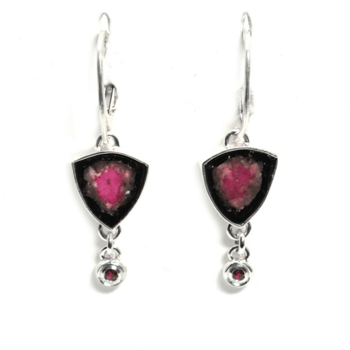 Watermelon Tourmaline Slice Earrings with Rubellite accent