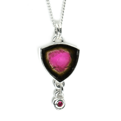 Watermelon Tourmaline Slice Pendant with Rubellite accent