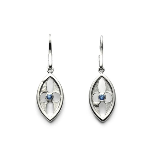 Blue Sapphire Arch Earrings