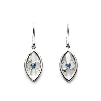 Blue Sapphire Arch Earrings