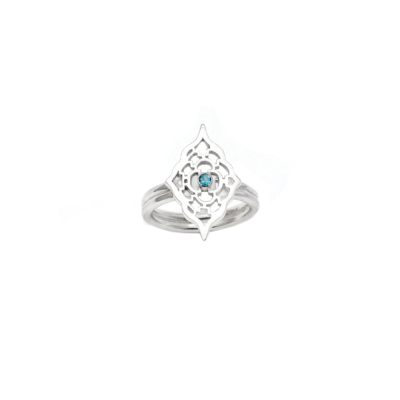 Sterling Silver Moroccan ring with Blue Topaz