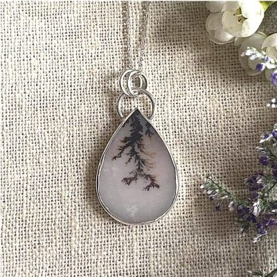 Large Dendritic agate pear pendant