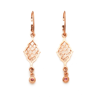 Rose Gold Moroccan Earrings with Pink Tourmalines