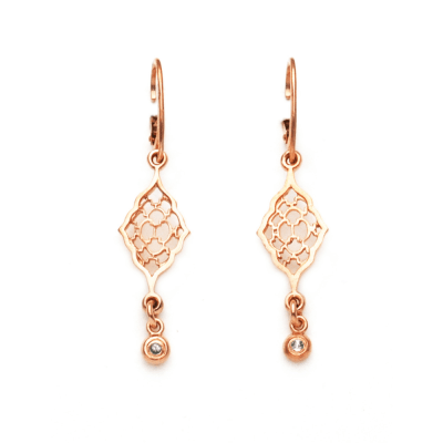 Rose Gold Moroccan earrings with diamond dangles