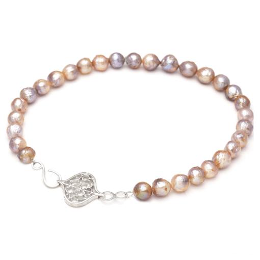Saxon Orb Clasp on Baroque Kasumiga Pearl Necklace
