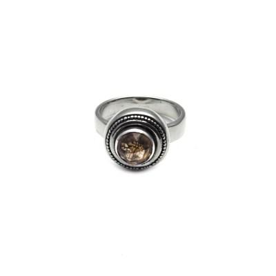 Rose cut Smoky Quartz Granulated Ring