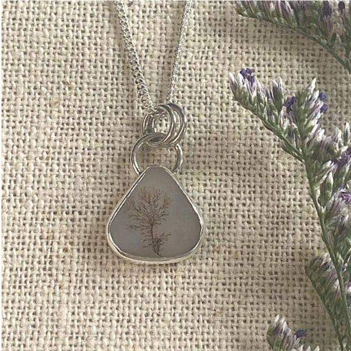 Dendritic agate triangular pendant