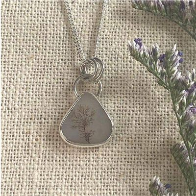 Dendritic agate triangular pendant