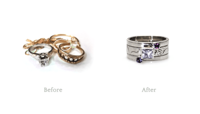 A great example of reusing and repurposing old jewellery you no longer need, want or wear and turning it into something you do!   My customer now has a great set of stacking rings that she can wear separately or together depending on what she wants.  Great versatility.  Rollerprinted with a floral design and highlighted with milgrain, these rings are simple but sophisticated.  Diamonds and spinels - what a great combination!