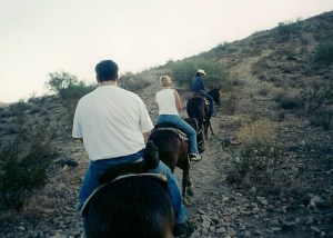 Arizona horseback riding in August (of mumble mumble year). I sure hope I was wearing sunscreen!