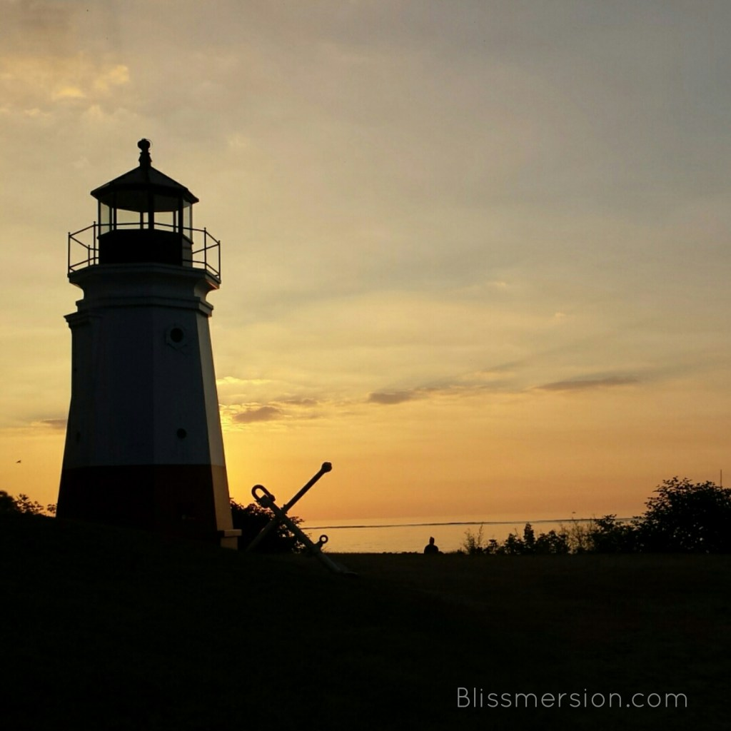 The 1877 Vermilion Lighthouse replica at sunset.
