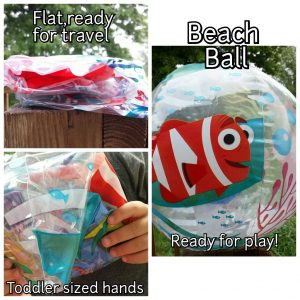 Three pictures of a beach ball. It's shown flat and inflated.