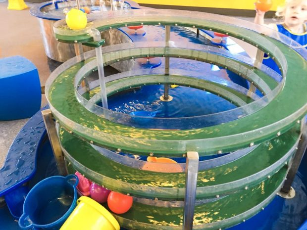 a water play spiral flow in the COSI Kidspace