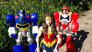 Wonder Woman leading the pack of rescue bots (all toys).