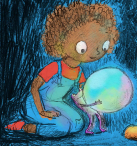 Picture provided by Asia Citro, drawn by Marion Lindsay: Zoey, in her blue jean overalls and red shirt, is looking over the shoulder of Pip, the magical frog. Pip is holding a large white object that resembles a pearl.