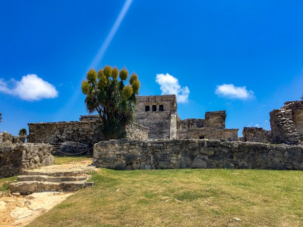 One of the standing ruins of Tulum. Slightly green grass in front, with a brilliant blue sky in the back and three small, fluffy white clouds dot the horizon.
