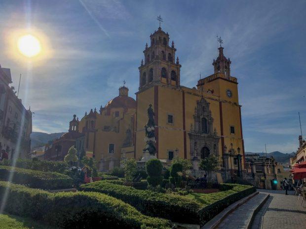 Cathedral Basilica Nuestra Señora de Guanajuato, the yellow and red church in Guanajuato, Mexico