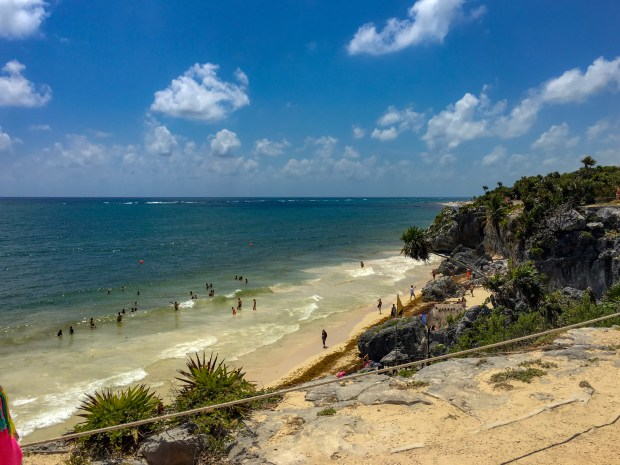 A picture of the beach from the Mayan Ruins in Tulum.