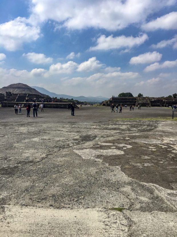 A ground level view of the Avenue of the Dead, Teotihuacan, facing away from the Pyramid of the Moon.