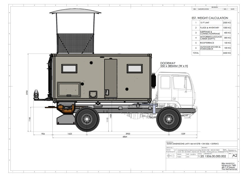 LMTV M1078A1 truck chassis, Bliss Mobil sub-frame and Bliss Mobil 15-foot expedition camper