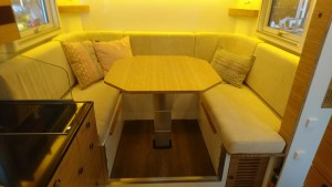 The lounge, sans seat belts (from our 15-foot Bliss Mobil expedition camper unit).