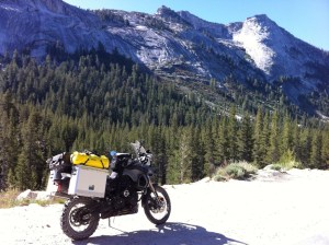 My BMW F800GS enjoying a rest in Yosemite National Park, California.