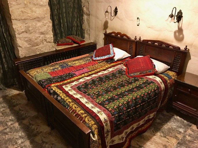 Jerusalem Hotel has intricately woven fabrics everywhere.