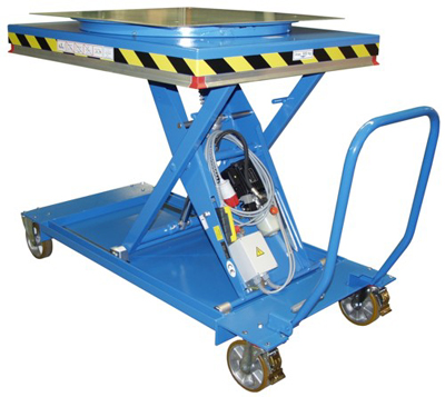 Mesa elevadora rodante de montaje con plataforma giratoria