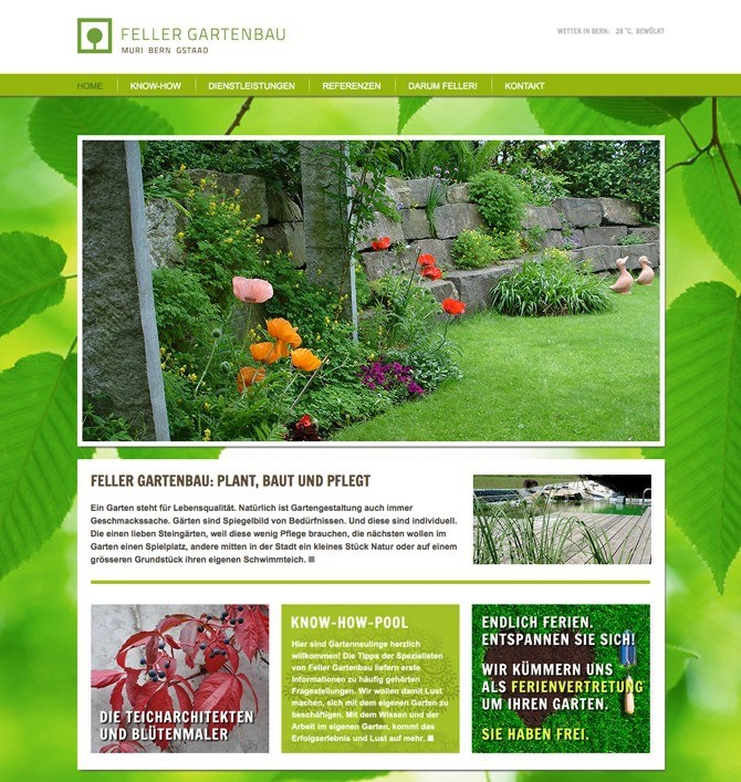 Website Feller Gartenbau by Werbeagentur Bern - Blitz & Donner