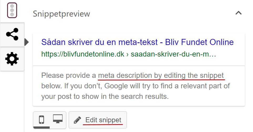 Skriv en metatekst, så det ser pænere ud på Google