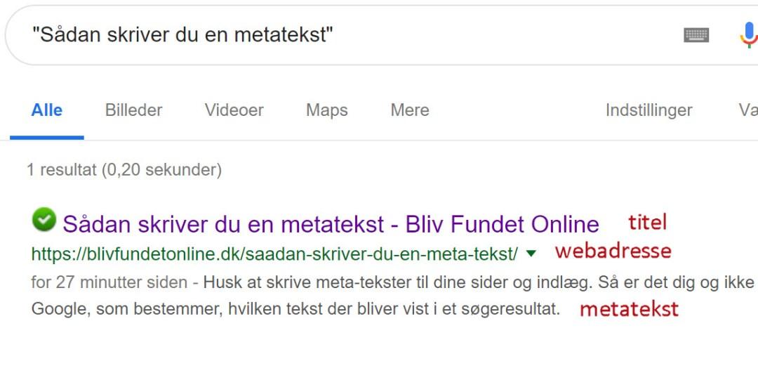 metatekst fra indlæg vist på Google på en pc