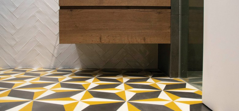 Yellow, black and white Mosaico flooring at The-Greens in a Private-Flat