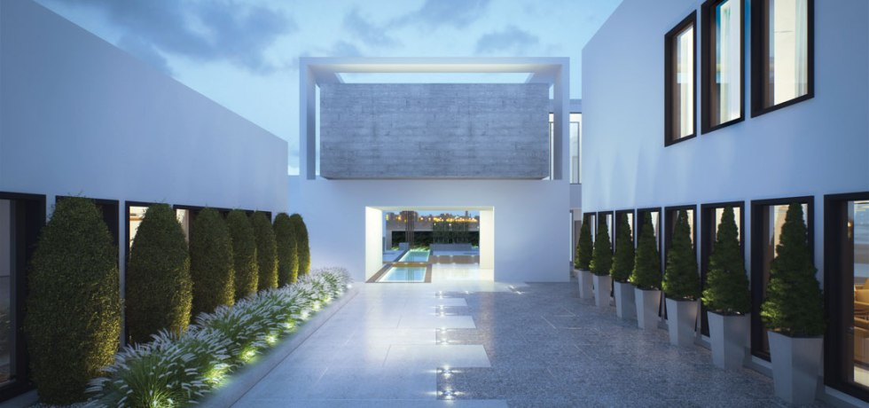 concrete cube emirates hills villa BE courtyard