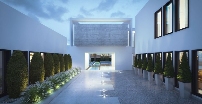 concrete cube emirates hills villa BE courtyard