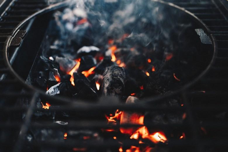flaming coals on bbq