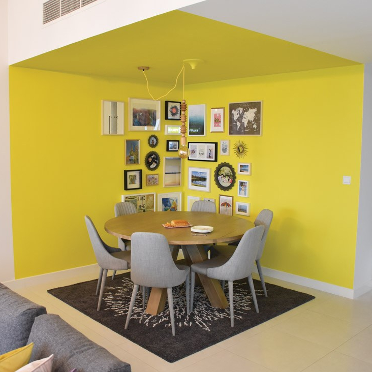 Kathryn Hawkes dining area, yellow walls