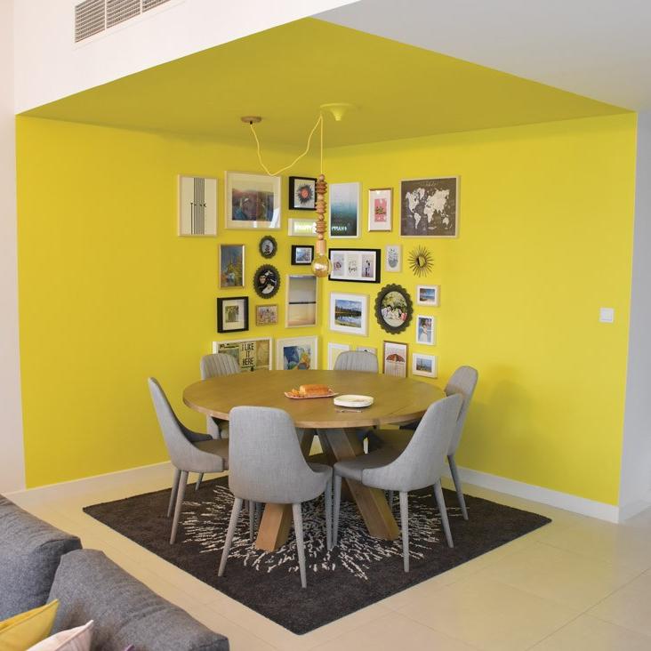 Kathryn Hawkes dining area, yellow walls
