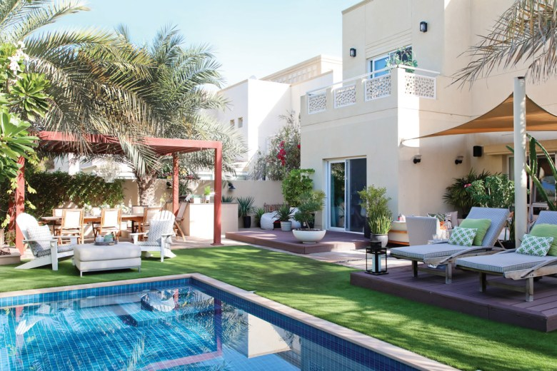 Outdoor pool dining and lounge areas