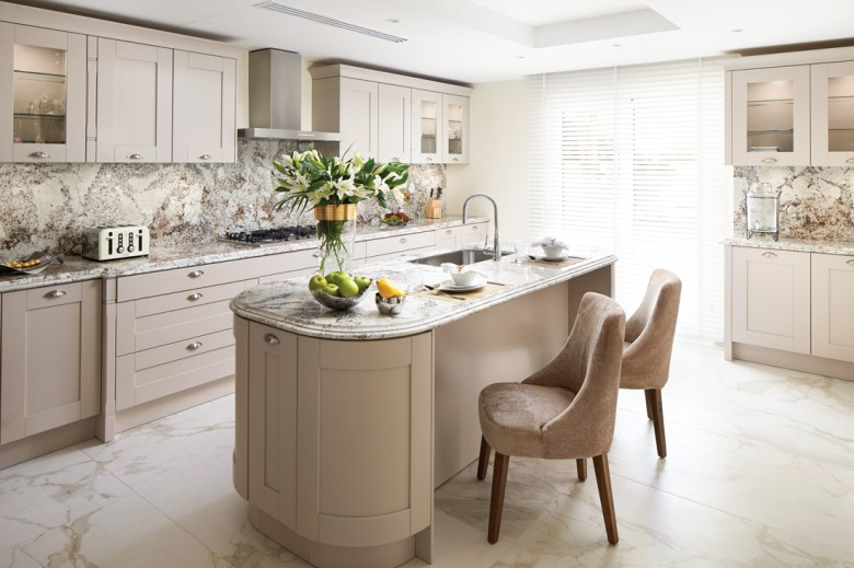 Light muted colours kitchen with marble floor