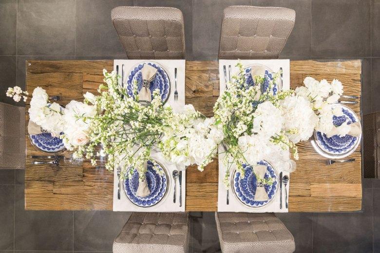 Floral arrangements on a brown table