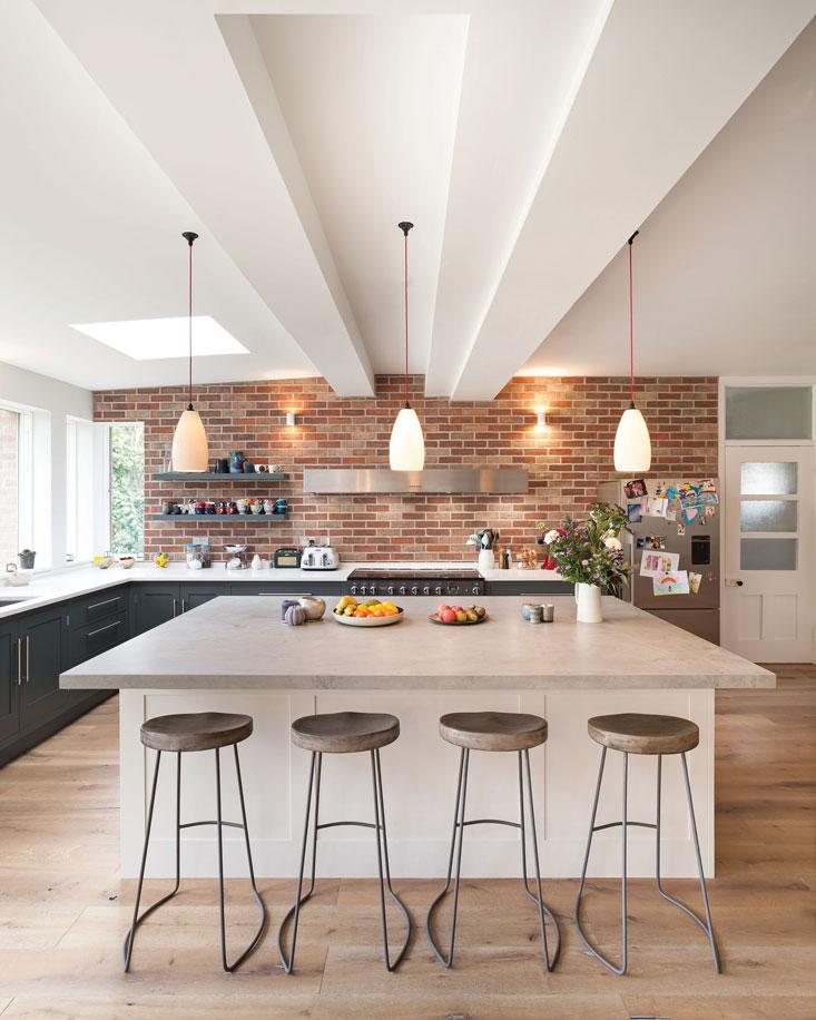 Brick wall kitchen with island