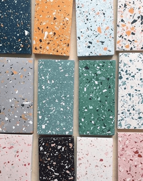 Selections of terrazzo tiles in different colours