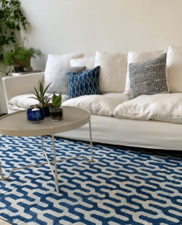 Blue and white rug from Weave Factory