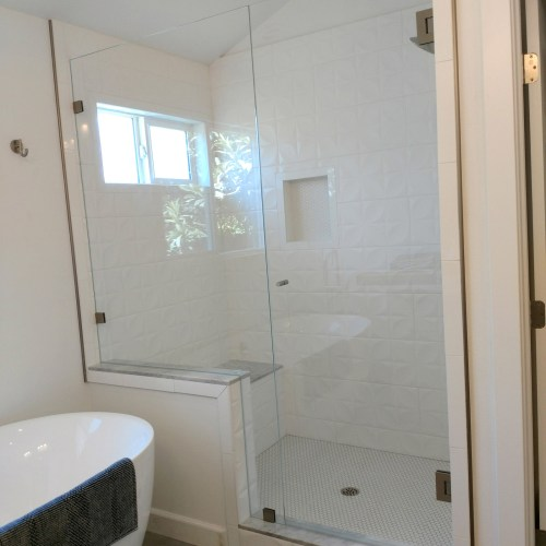 Inline Glass to Glass with Notch Panel by Blizzard Frameless Showers