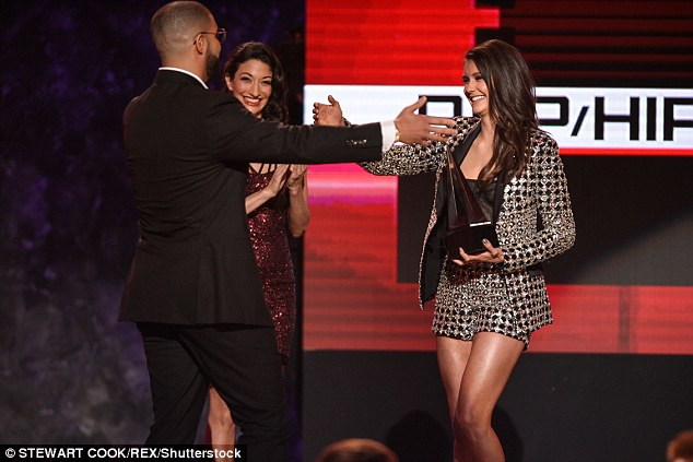 Hello to you! The rapper, 30, started off his acceptance speech congratulating Nina on her successful career